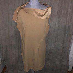 2 B Rich NEW camel khaki goregous neckline sheath